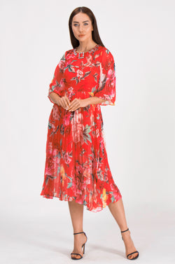 Gracefully Red & Floral Print pleated Dress