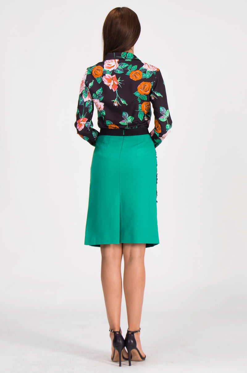 Floral Print & Green Suit Bundle (Shirt & Skirt)