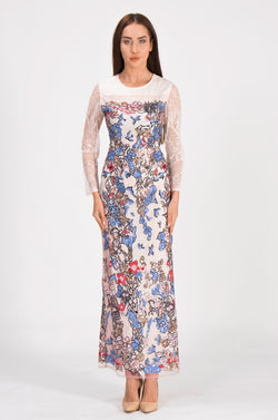Multicolor Embroidery Biege Dress