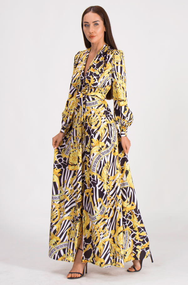Base Yellow on zebra print Dress