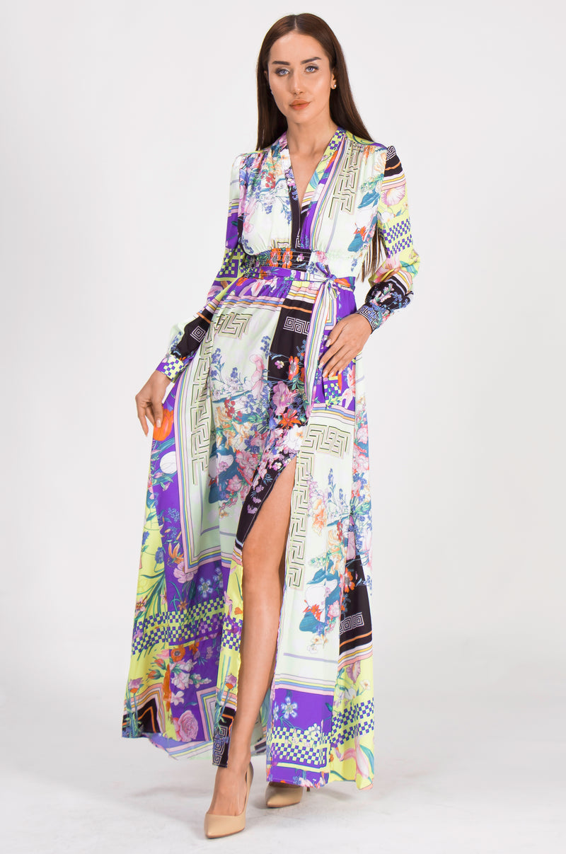 Multicolor Patterns Print Maxi Dress