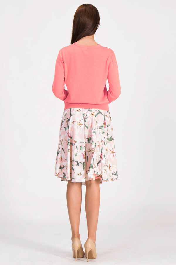 Light Pink Floral Suit Bundle (Sweater & Skirt)