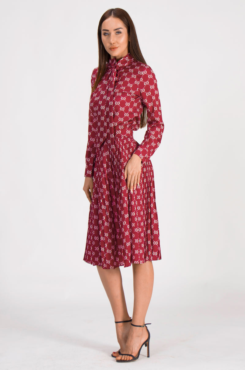 Bow print suit bundle in Wine red ( Shirt & Skirt )