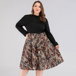 Multicolor Brown Designs Print Dress
