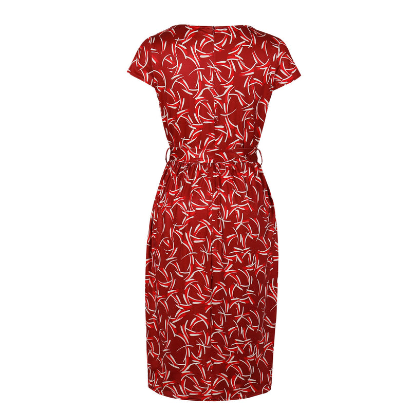 Red print front tie dress