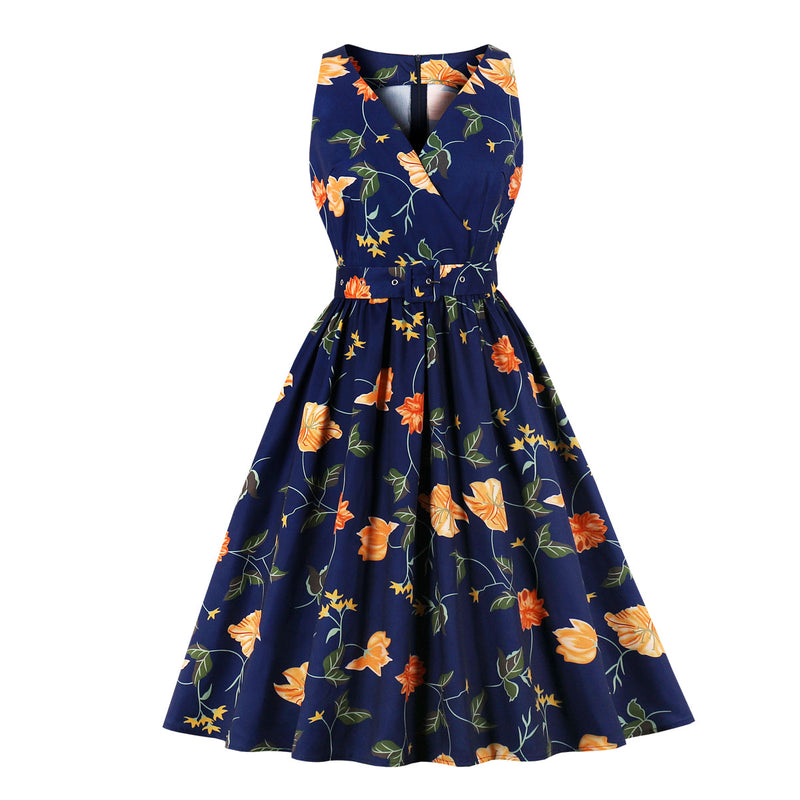 Orange Floral Print Dress In Navy Blue