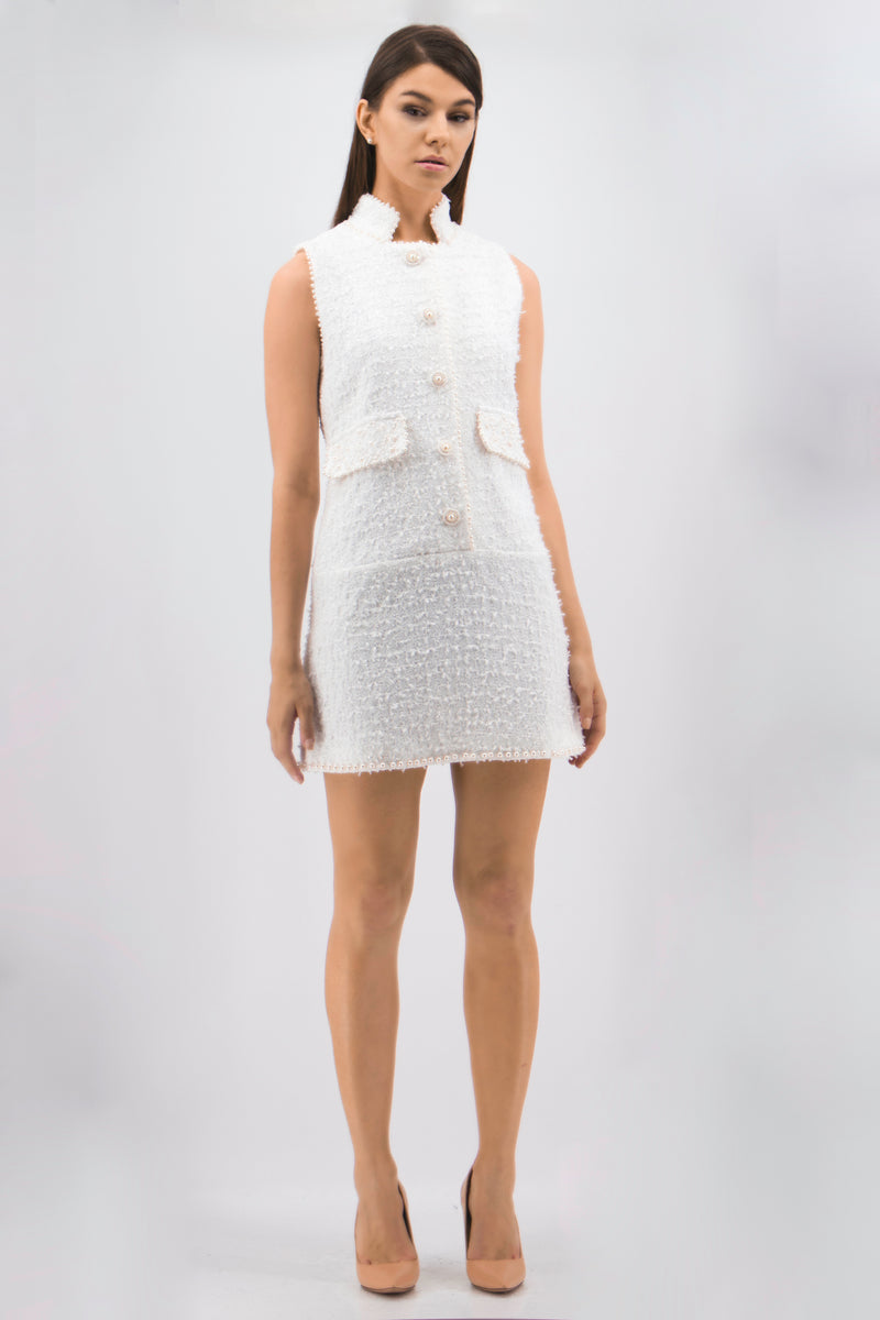 Buttons down raised neck mini Dress in white