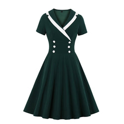 Small Tux buttons Dress in dark green
