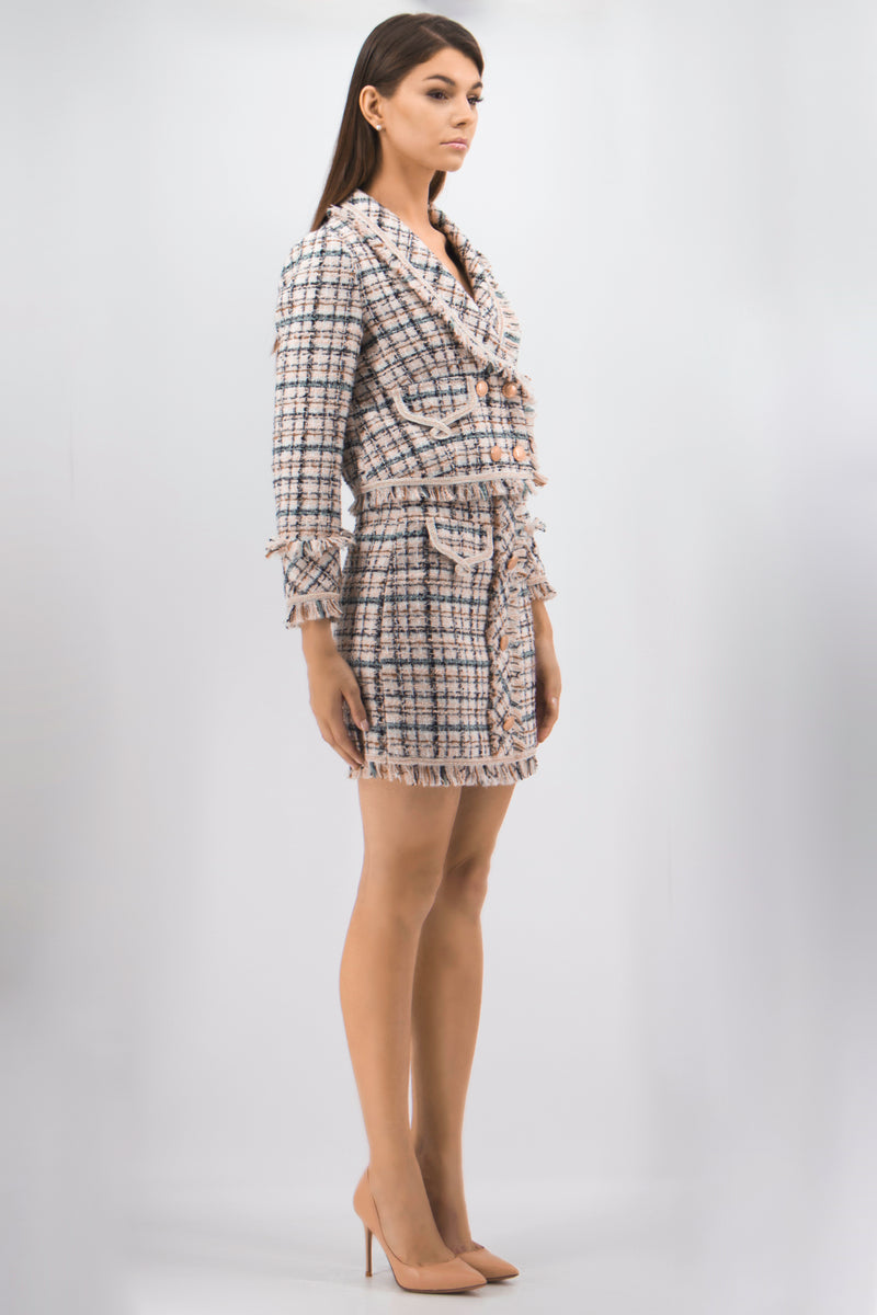 Detailed Multicolor Cell Suit Bundle (Jacket & Skirt)