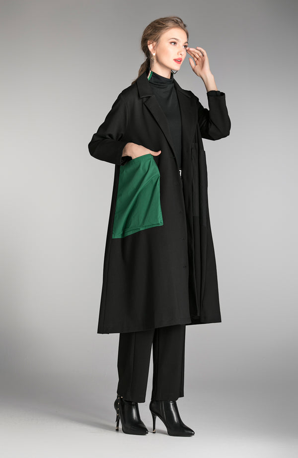 Black Flip Pocket Color Design Coat