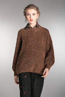One Size Brown Oversize Sweater