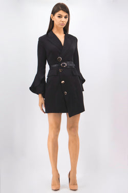 Belted Cross Tux Buttons Dress in black
