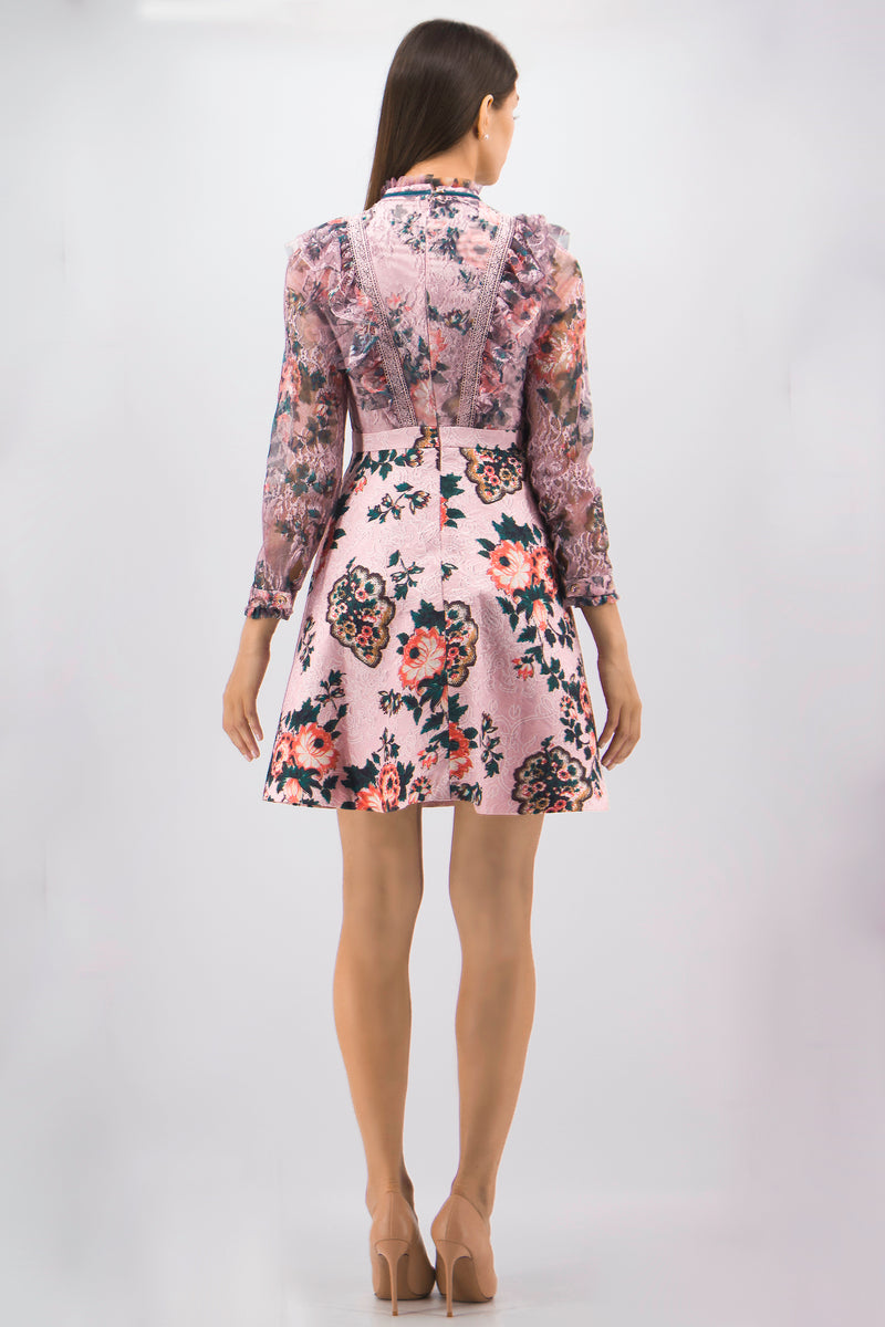 Laced nake Pink Floral Print Dress