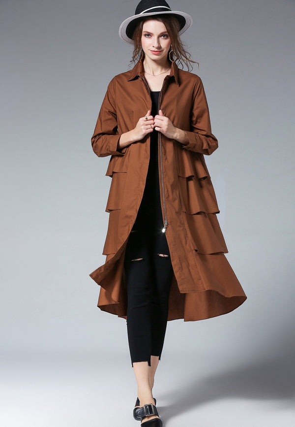 Jacket Shirt dress in Brown