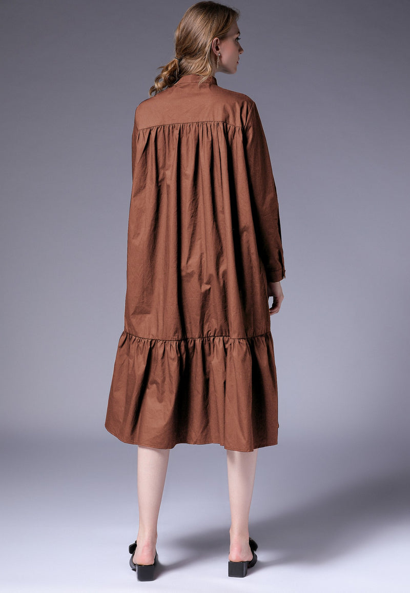 Brown Oversize & Hem Dress