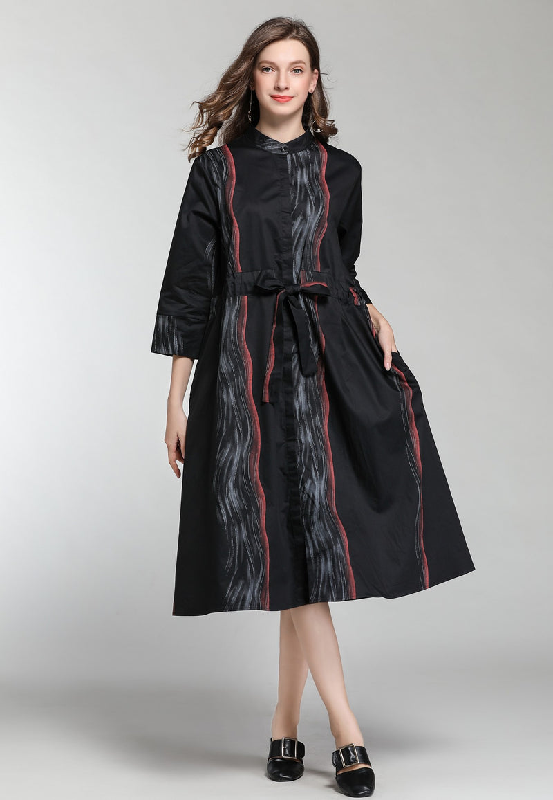 Front Tie Black Oversize Dress