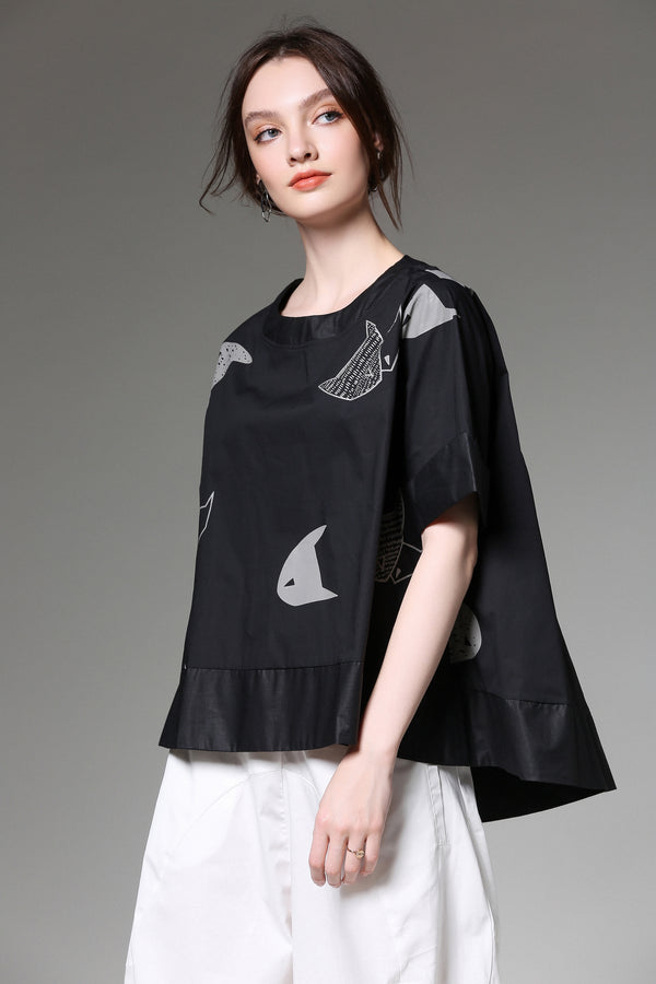 Grey Patterns Black Oversize Blouse