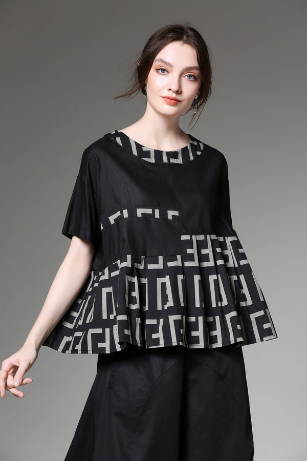 Gray Patterns Black Oversize Blouse