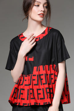 Black Patterns Red Oversize Blouse
