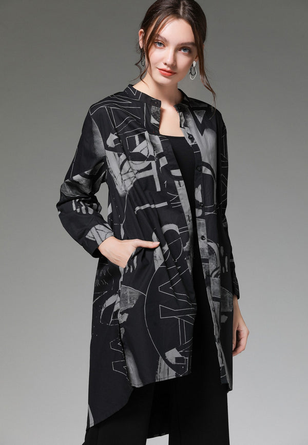 Front Cut Full Pattern Print Shirt
