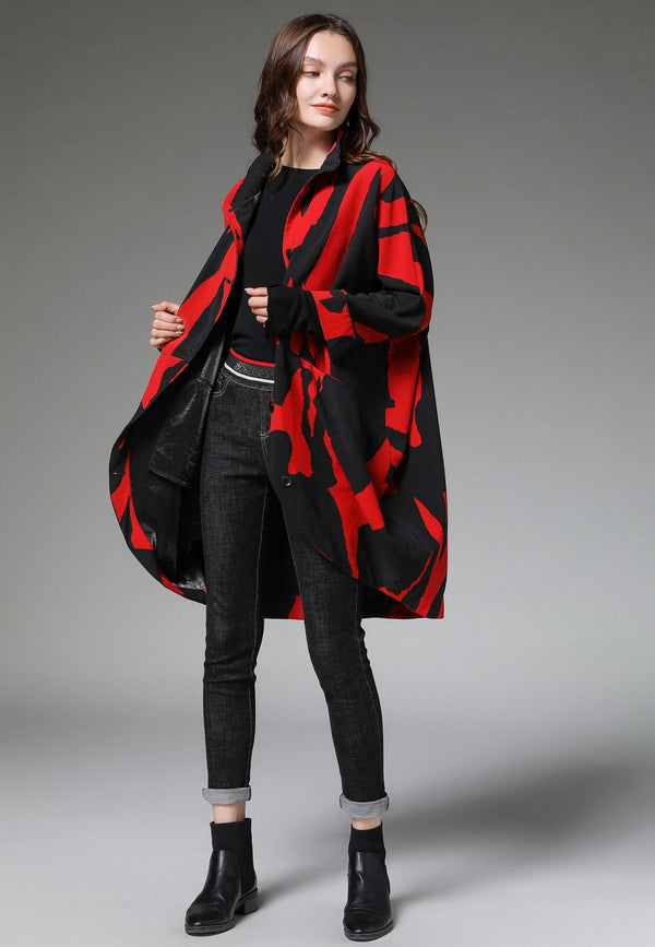 Patterns Red Oversize Jacket
