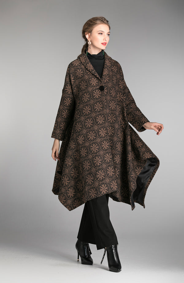 Pattern Design Brown Cover Coat