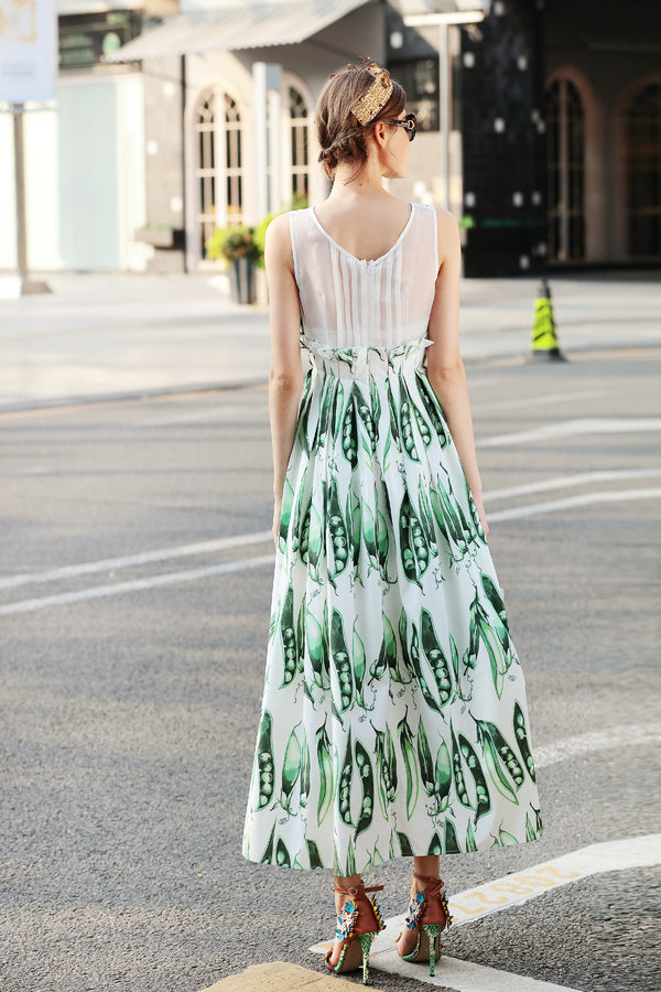 Multi White & Green Sundress