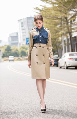 Khaki & Blue Jeans Trench Coat