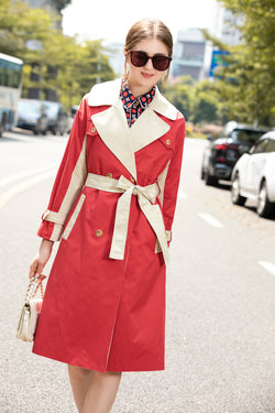Multicolor Red & White Trench Coat