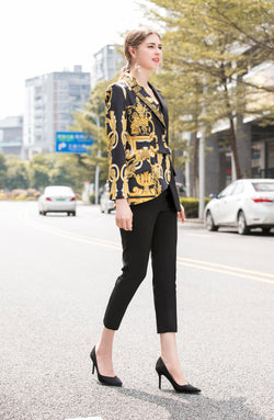 Side By Side Yellow Print Black Suit Bundle (Jacket & Pants)