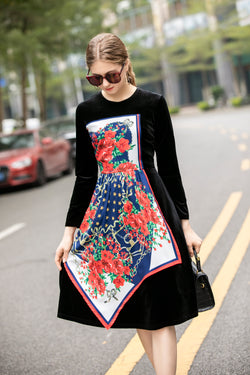 Multicolor Red Floral Print Dress