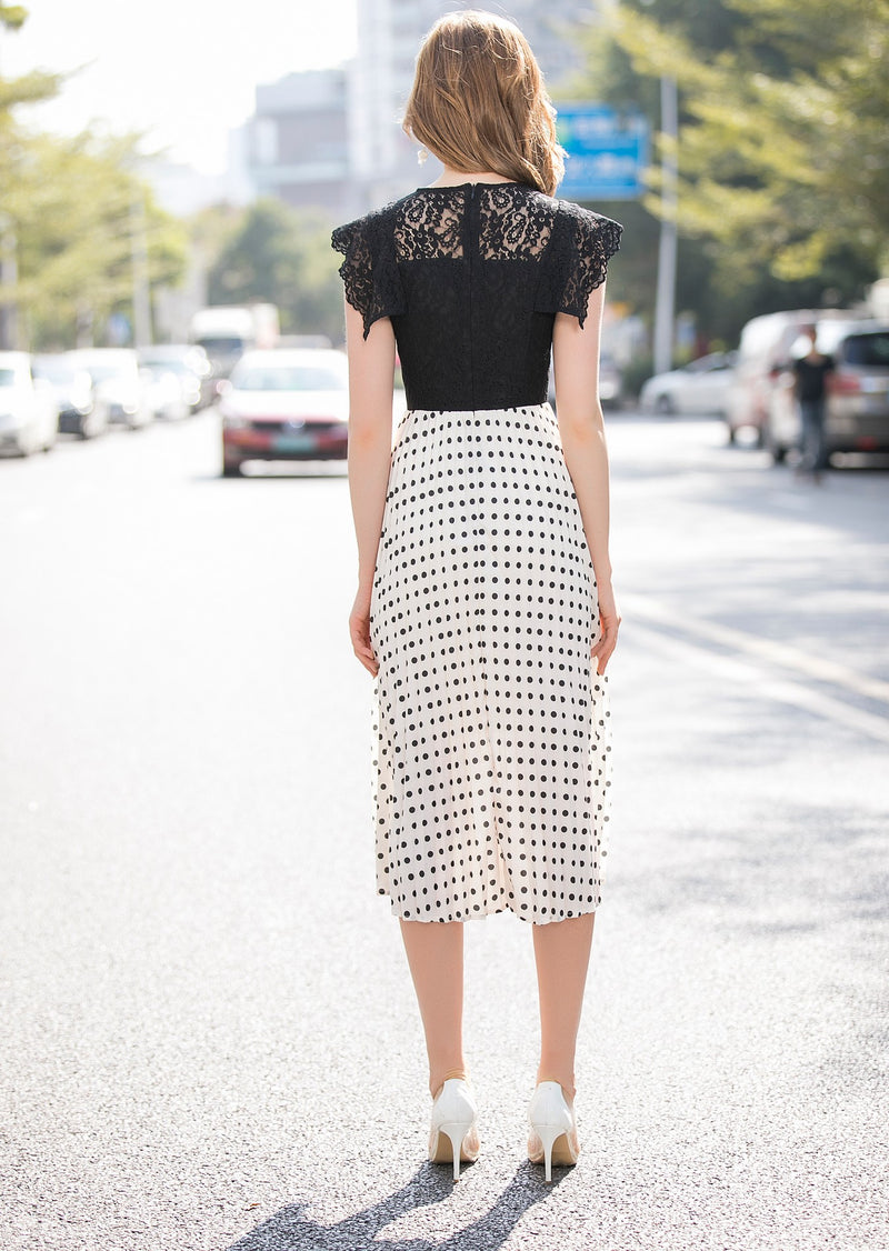 Polka Dots Black & White Dress