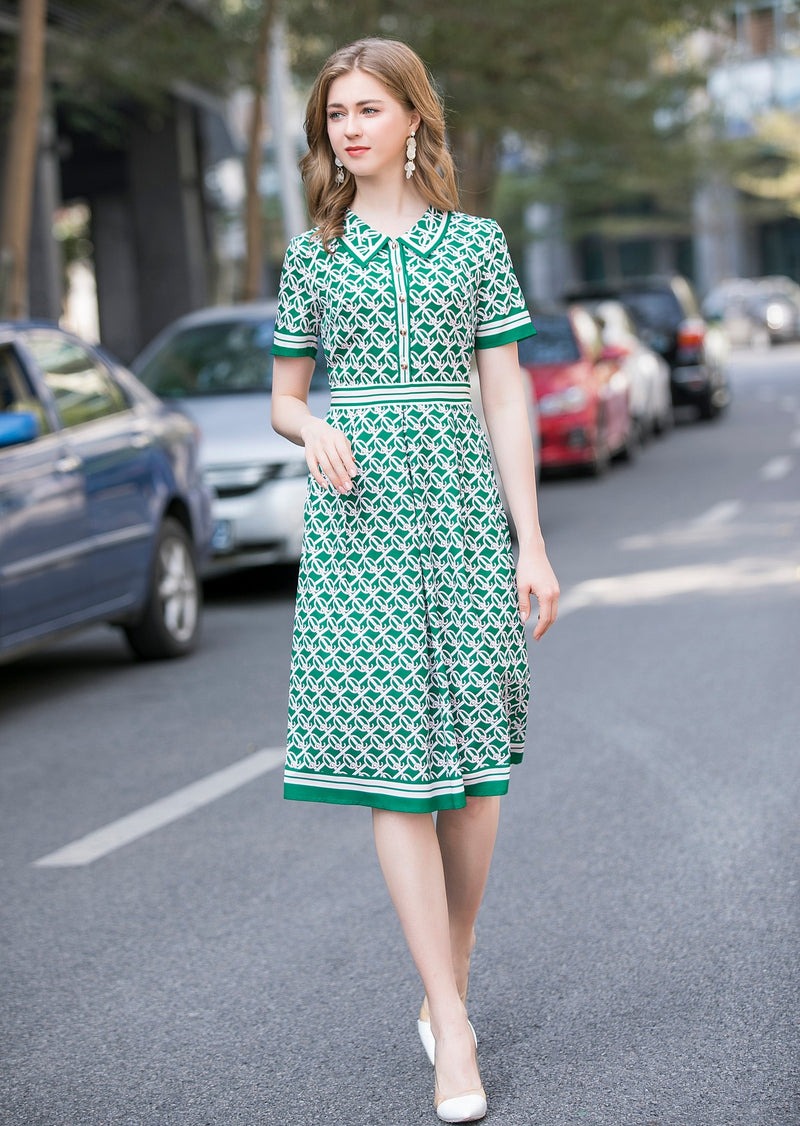 Full blown green angel sleeve Dress