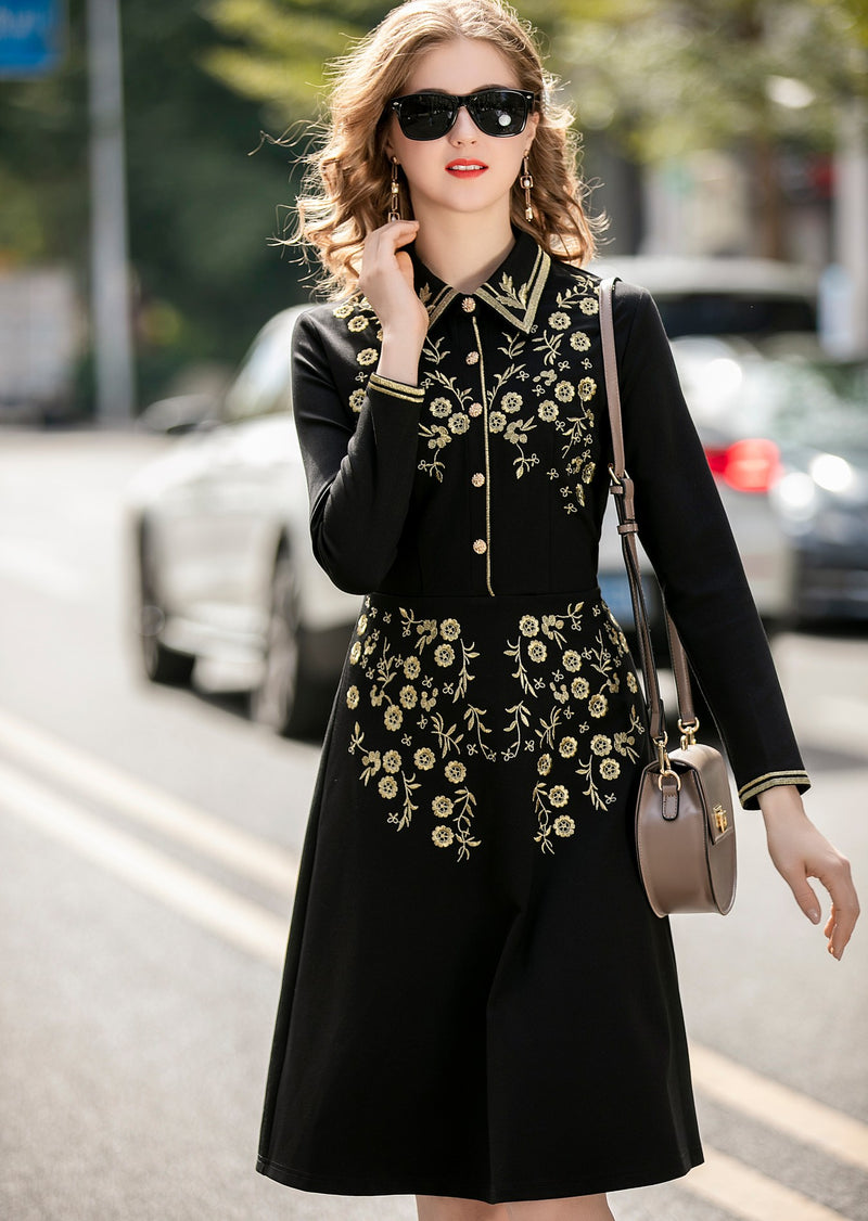 Gold Floral Designs Black Dress