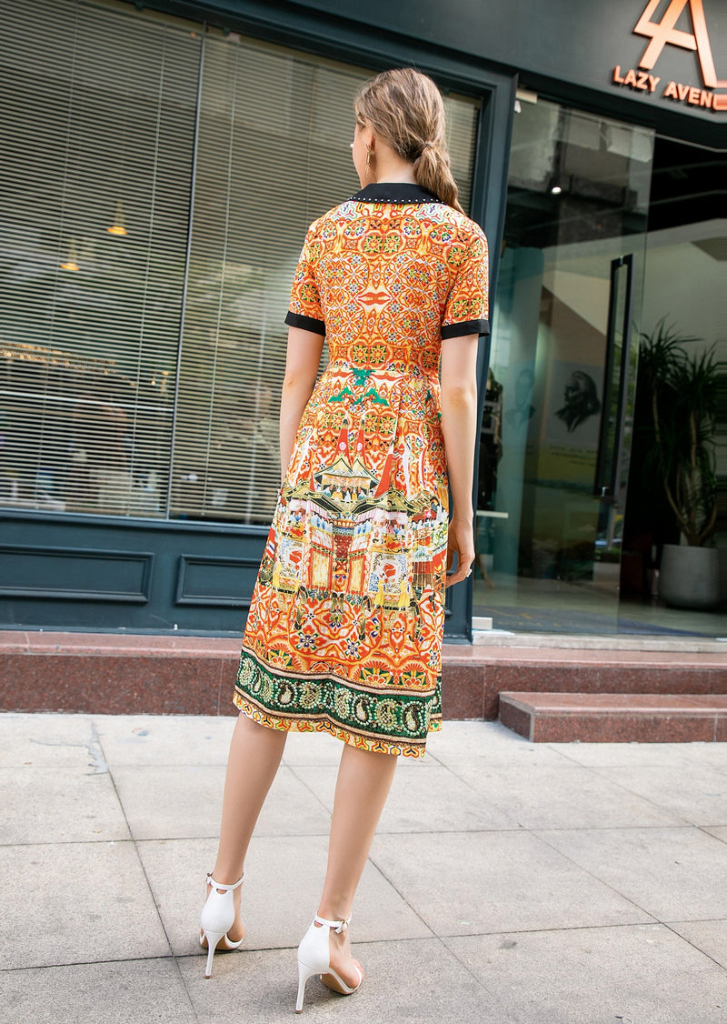 Express Orange & Multicolor Print Dress