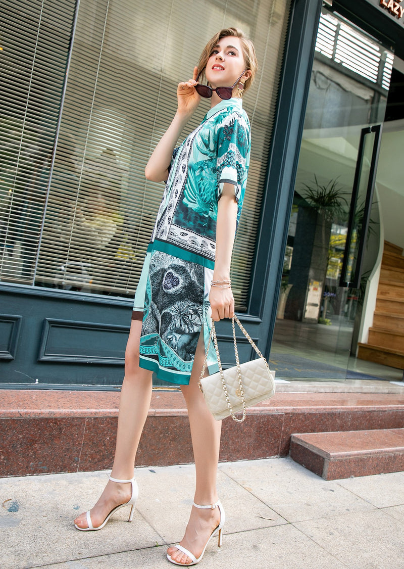 Multi Green Patterns Print Dress