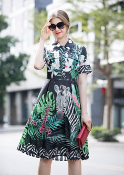 Multi Floral & Animal Print Black Dress