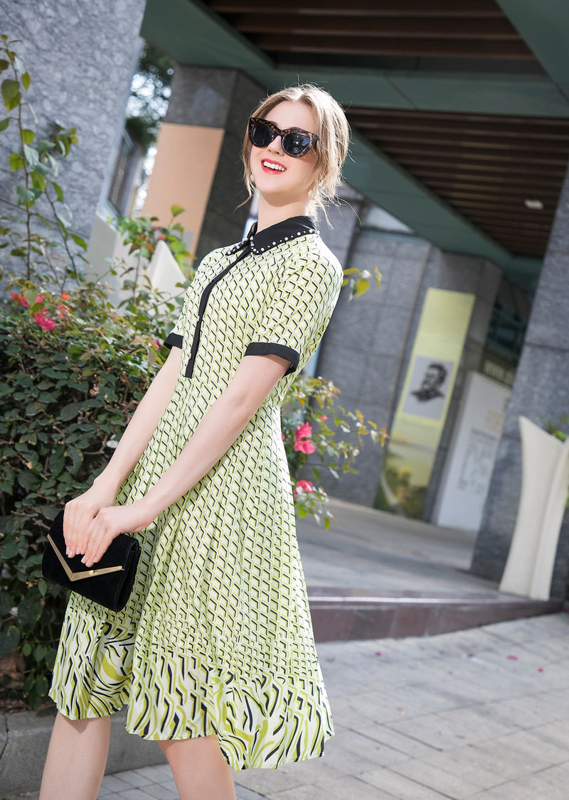 base yellow pleated print Dress