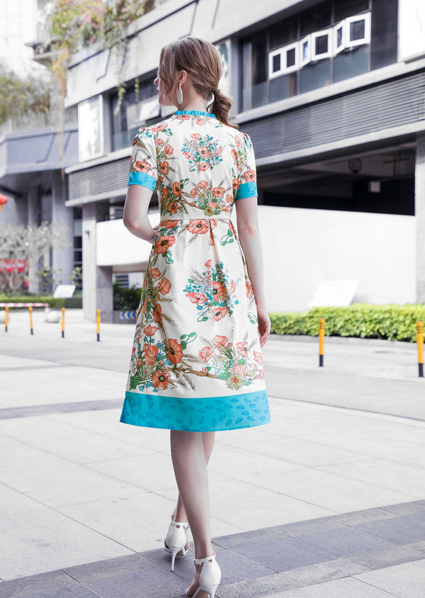 Base Turquoise & Poppies Print Dress in white