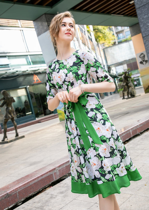 Base Green & White floral print Dress