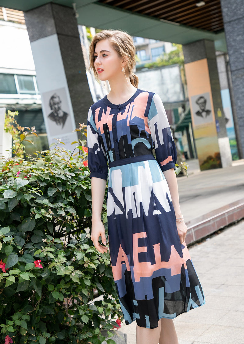 Letters & multicolors Print Dress
