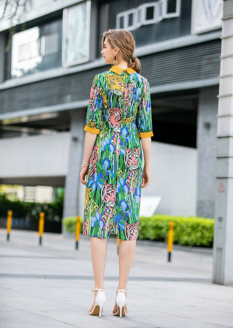 Animal multicolor Print Dress in green
