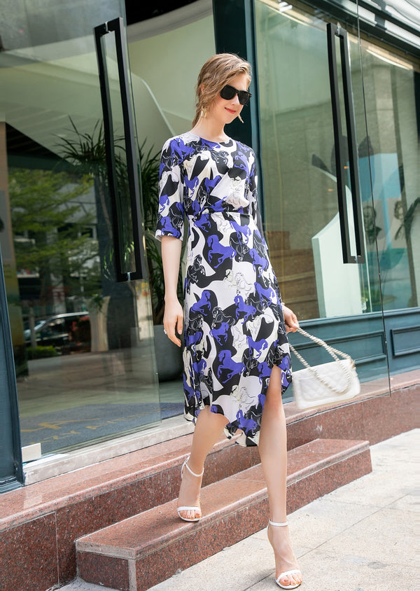 Base Purple multi patterns print Dress