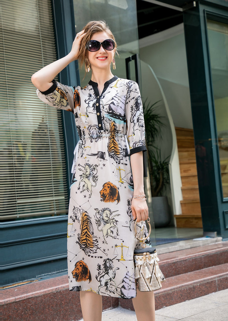 Light Beige & Multicolor Print Dress