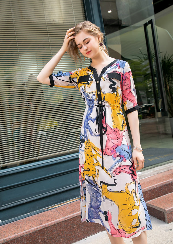Base White & Multicolor animals Print Dress