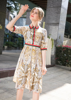 Multi White & Beige Print Dress