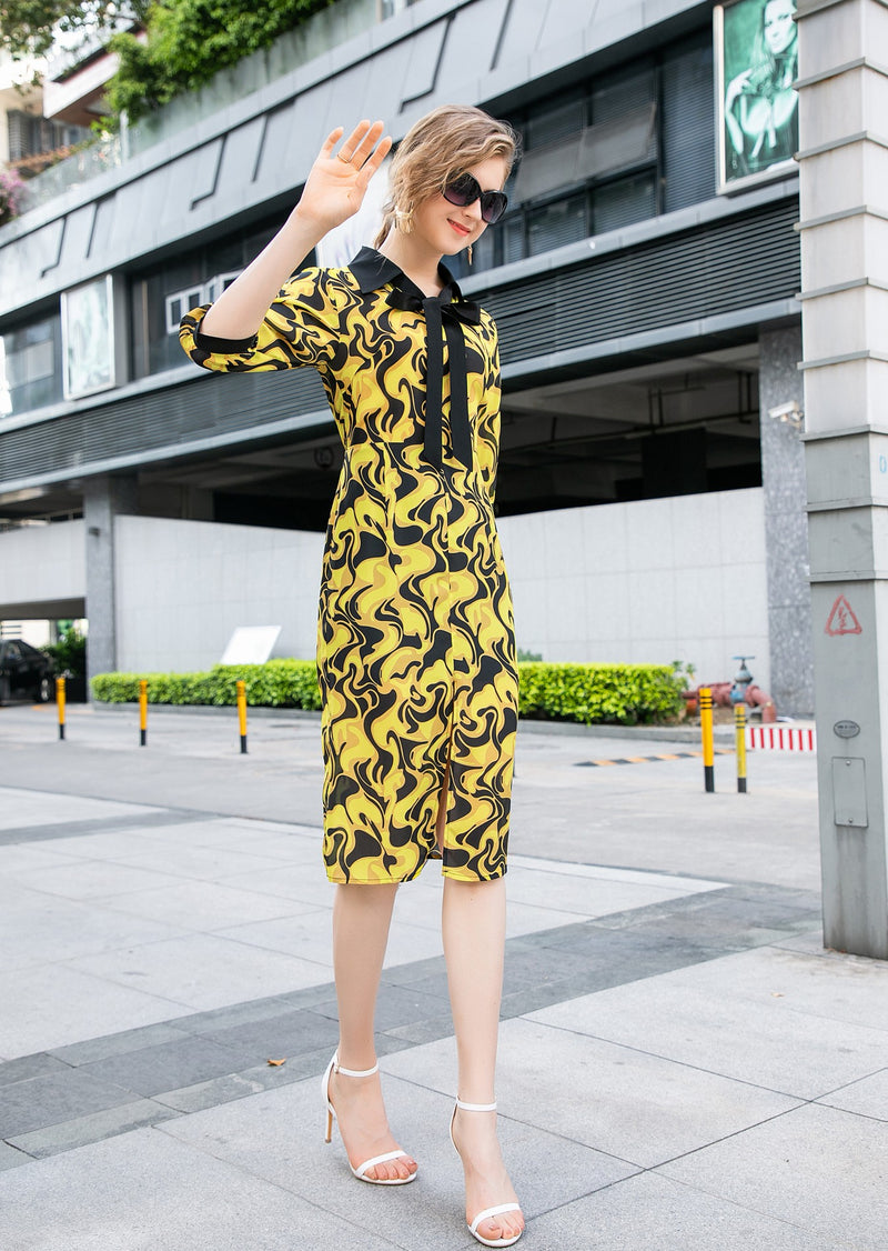 Multi yellow patterns print Dress
