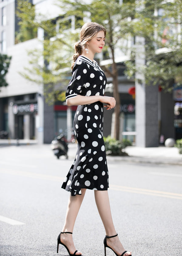Base Black Polka Dots Dress