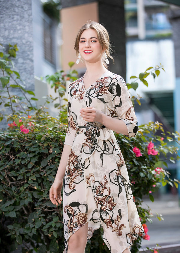 Beige Mixed Print Dress