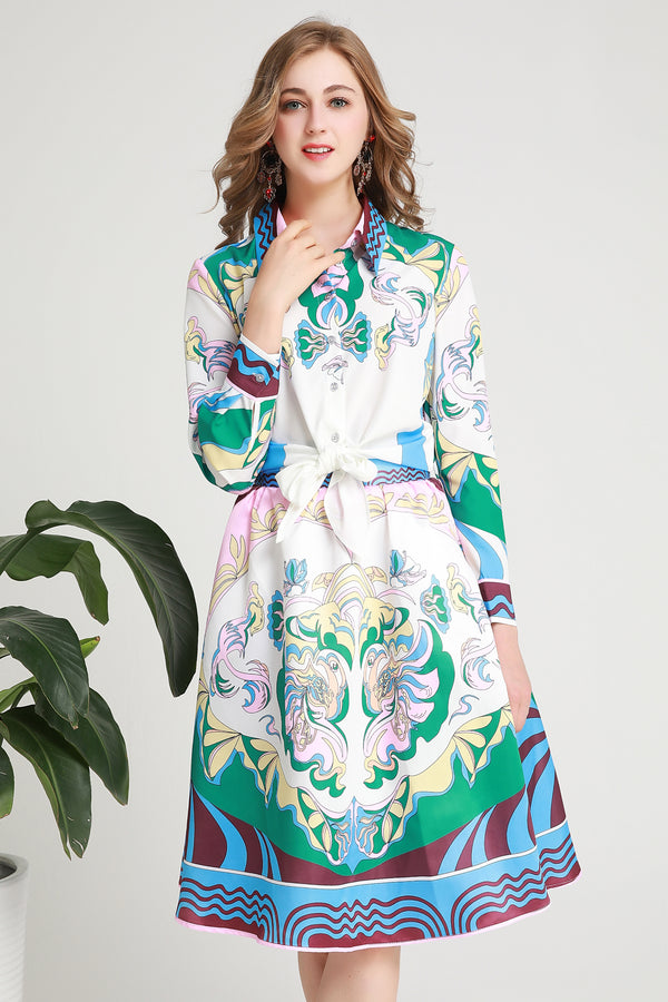 Multi Green & White Patterns Suit Bundle (Shirt & Skirt)